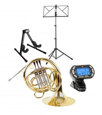 Classic Cantabile WH-700 Junior F French Horn SET w/ case, mouthpiece, horn & music stand, metronome