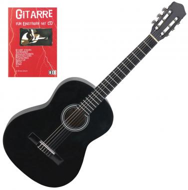 Calida Benita Konzertgitarre 3/4 schwarz + Gitarre für Einsteiger mit CD