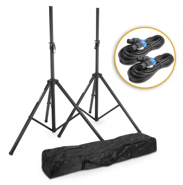 Pronomic Add on Package Speaker Stands Pack of 2 Including Cable and Case