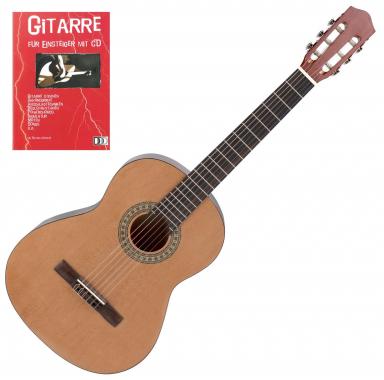 Calida Loretta Klassikgitarre 3/4 natur + Gitarre für Einsteiger mit CD