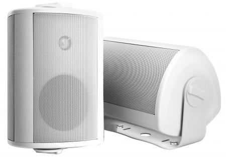 A Pair of Pronomic OLS-10 WH White Outdoor Loudspeakers, Two at 120 Watts