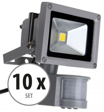 Showlite FL-2010B LED faretto IP65 10 Watt 1100 Lumen sensore movimento SET 10 pezzi