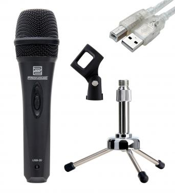 Pronomic USB-20 microphone USB SET incl. trépied de table argent