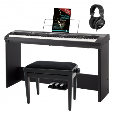 Classic Cantabile SP-150 BK Stage Piano black deluxe set incl. stand, bench and headphones