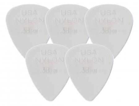 5er Set Dunlop Nylon Standard Plektrum 0,38 weiß