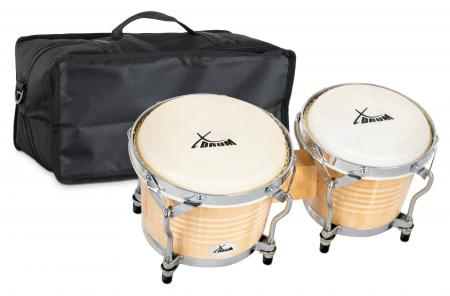 XDrum Bongo Pro Natural SET incl. Bongo carrying bag