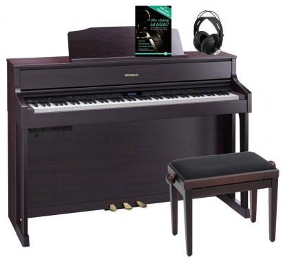 Roland HP605-CR Digitalpiano Rosenholz SET inkl. Pianobank, Kopfhörer und Schule
