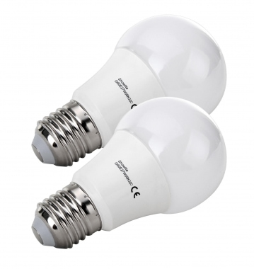 SET 2x bombillas LED Showlite G60E27W09K30D 9W, 860 Lumen, casquillo E27, 3000 Kelvin, regulable int