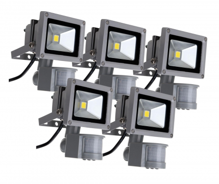 showlite FL-2010B faretto led IP65 10W 1100 lumen sensore Movimento 5 pezzi