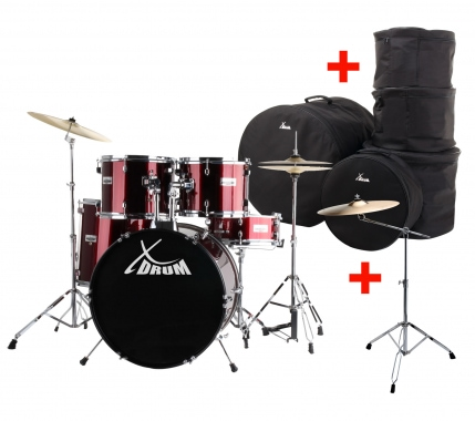 "XDrum Semi 20"" batterie studio rouge XL SET incl. pied perche cymbale + cymbales crash et housses"