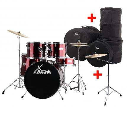 "XDrum Semi 20"" Standard Drumset Red XL SET incl. Boom Stand + Crash Cymbals and Drum Bags"