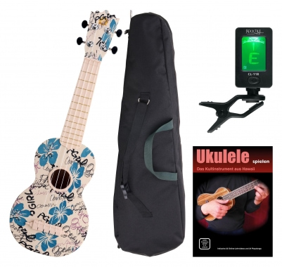 Classic Cantabile BeachBuddy ukulele Hula-Holiday, set incl. sintonizador y curso