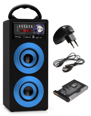 Beatfoxx Beachside Bluetooth haut-parleur portable USB, SD, AUX, UKW/MW bleu SET accu + alimentation