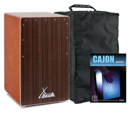 XDrum cajon El Bajo porte basse cocoa brown/ébène set méthode d'apprentissage & housse comprises