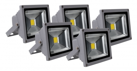Showlite FL-2020 LED Floodlight IP65 20 Watt 2200 Lumen 5-piece SET