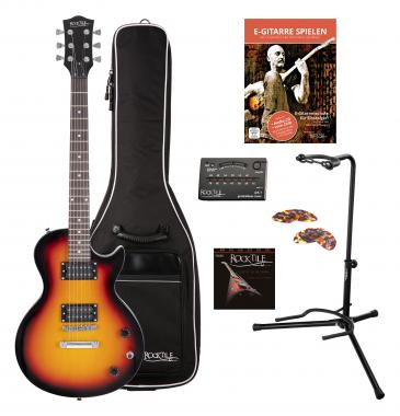 Rocktile L-100 SB Guitare Électrique Sunburst SET Gigbag + Stands + Cordes + Accordeur + Plectres