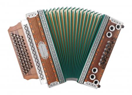 "Alpenklang 4/III Harmonika ""Deluxe"" G-C-F-B Nuss mit H-Bass und Altsilber Beschlägen"