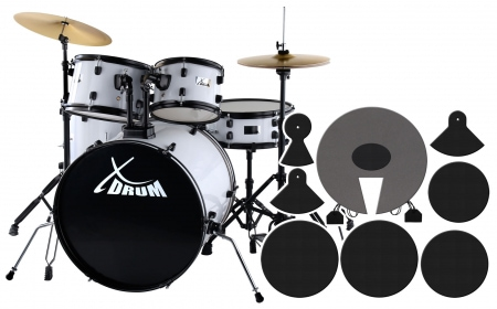 "XDrum Rookie 22 ""Fusion drumset white plus muffler set"