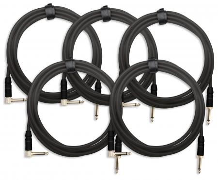 5x SET Pronomic Trendline INST-3S câble à instrument 3m noir