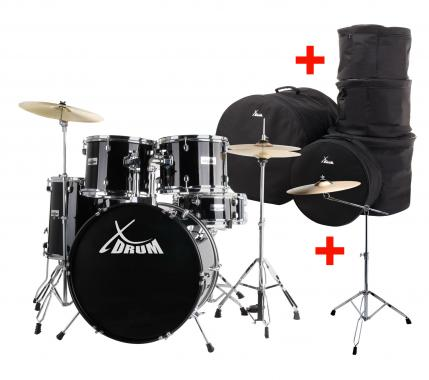 "XDrum Semi 20"" batterie studio Noir XL SET incl. pied perche cymbale + cymbales crash + housses"