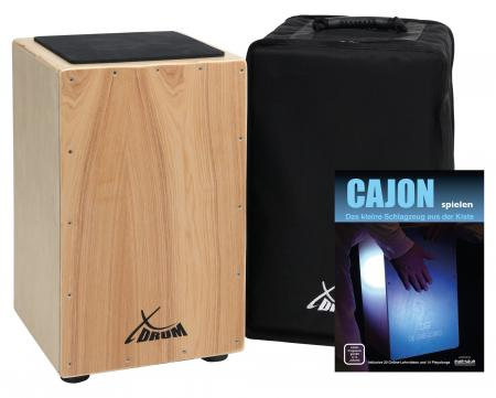 XDrum Primero Cajon Natural incl. Pocket (snare sound, box drum, drum box, wood, incl. Gig bag and Allen key)