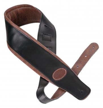 Shaman Standard 05 courroie en cuir noire avec rembourrage brun lisse
