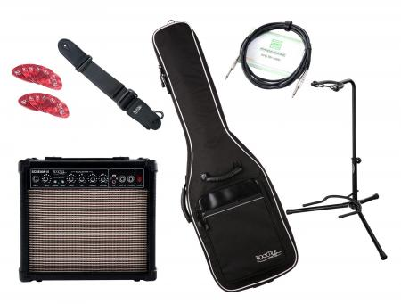 Rocktile e-gitaar Add On complete set medium - amp, tas, gordel, statief, kabel en plectrums inb.