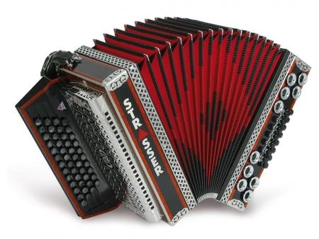 Strasser 4/III De Luxe E Harmonika 4-reihig, 3-chörig B-Es-As-Des, mit X-Bass, Schwarz/Rot