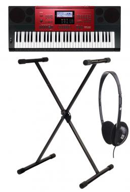 Casio CTK-6250 High-Grade-Keyboard schwarz-rot, 61 Tasten SET mit Ständer und Kopfhörer