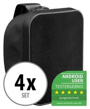 4x Pronomic OLS-5 BK haut-parleurs plein air noir 4x 80 Watt