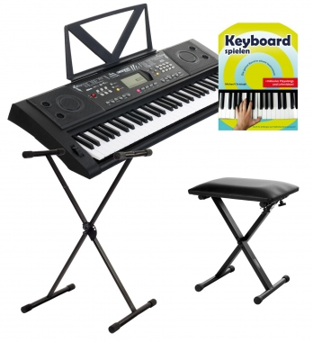 FunKey 61 Deluxe keyboard black set includes keyboard stand, bench + music book