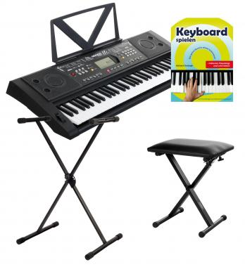 FunKey 61 Deluxe Keyboard noir SET incl. support de clavier et cahier de notes + Banc
