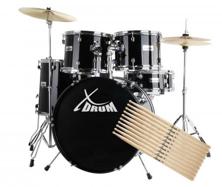 Xdrum complete Drumset Semi N Set plus 5 paar drumsticks 5A nylon, incl. bekkens