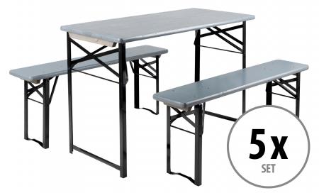 5x Set Stagecaptain Hirschgarten Deluxe garniture de balcon 117 cm gris