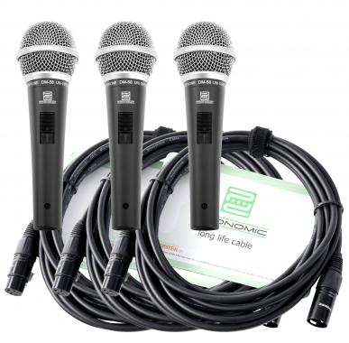 Pronomic Microphone DM-58 Vocal avec Interrupteur Starter Set de 3 avec 3x 5mcâble XLR