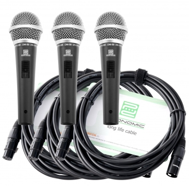 Pronomic DM-58 Vocal Mikrofon mit Schalter 3er SET inkl. 3x 5m XLR Kabel