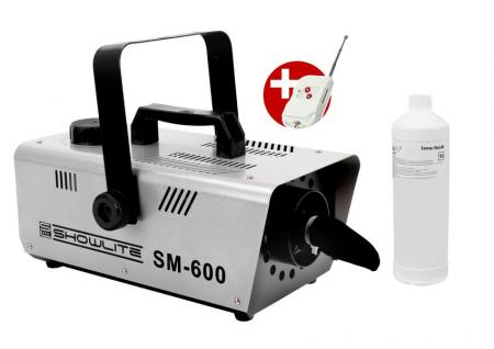 Complete Set Showlite SM-600 Snow Machine 600W incl. remote control and 1 L snow-making fluid