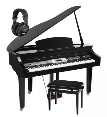 Classic Cantabile GP-500 digital grand piano black high polish SET incl. bench + headphones