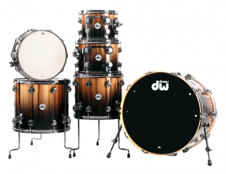 DW Collector's Series Drumkit in Exotic Natural Tor Candy Black Burst over Vertical Rainbow mit Black Nickel Hardware