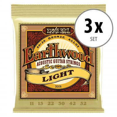 3er Set Ernie Ball 2004 Earthwood 80/20 Light