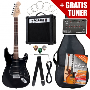 Rocktile ST Pack Electric Guitar Set, Black, incl. amp, bag, tuner, cable, strap, strings