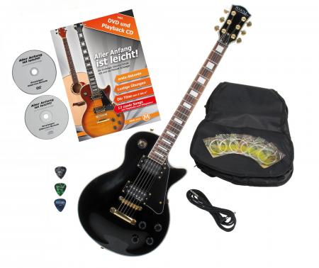 Rocktile per L-200BK Deluxe Electric Guitar Black with accessories