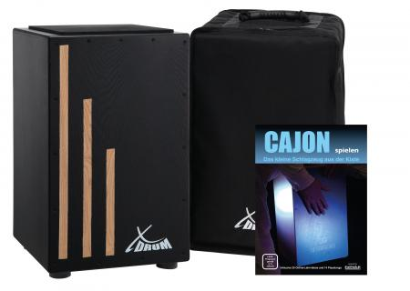 XDrum Primero Cajon Negra incl. Bag (snare sound, box drum, drum box, wood)