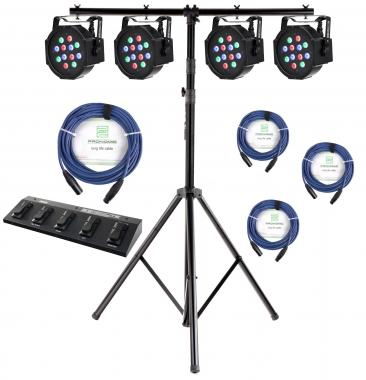 4 x Showlite FLP-12x1W LED Flatline Panel inkl. DMX-Footcontroller, Stativ und 4 Kabel Set
