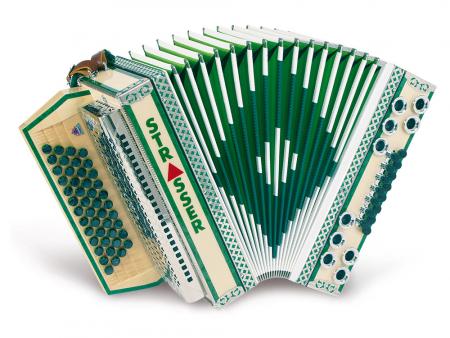 Strasser 4/III De Luxe E Harmonika 4-reihig, 3-chörig G-C-F-B, mit X-Bass, Ahorn/Grün