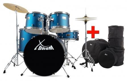 "XDrum Semi Drum 22"" Satin Blue Sparkle Set + bags"