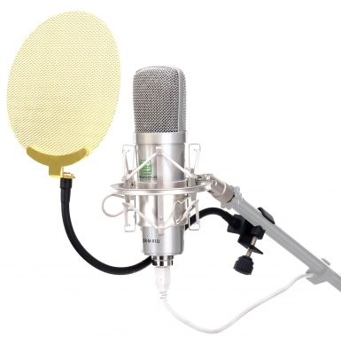 Pronomic USB-M 910 Podcast microphone condensateur argenté SET incl. filtre anti pop en or