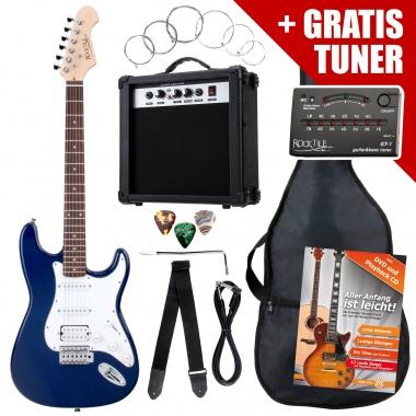 Rocktile ST PowerP e-gitaar blauw versterker, tas, stemtoestel, kabel, gordel, snaren