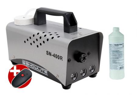 Complete Set: Showlite SN-400R LED fog machine, red, 400W, incl. remote control + 1 L fog fluid