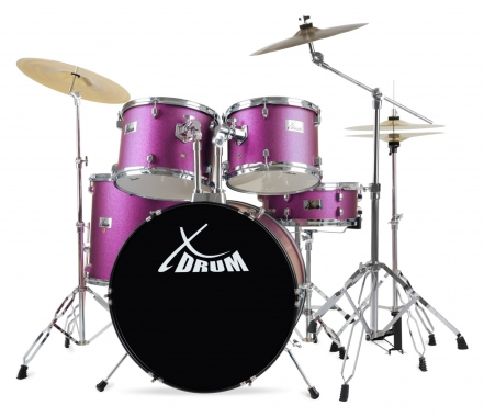 "XDrum Semi 22"" Standard Drumset Satin Purple Sparkle Set incl. Boom Stand + Crash Cymbals"